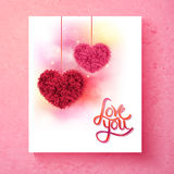Two romantic floral hearts - Love You Royalty Free Stock Image