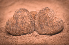 Two romantic heart shaped stones Stock Image