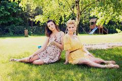 Two romantic ladies sitting on flower meadow Stock Photos