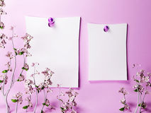 Two romantic notes on the wall Stock Photos
