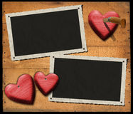 Two Romantic Photo Frames on Wood Wall Stock Photos