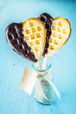 Two romantic waffles for a sweetheart Stock Images