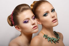 Two Romantic Young Women Royalty Free Stock Photo