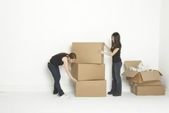 Two roomated stacking boxes Stock Photo