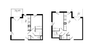Two-rooms apartment plans set Royalty Free Stock Photo