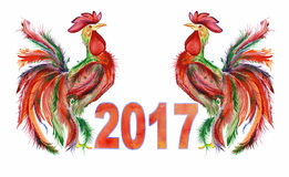 Two roosters disposed symmetrically and the sign 2017  Royalty Free Stock Images