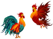 Two Roosters. Vector. Symbol 2017. Isolated Cockerels. On a white background Stock Images