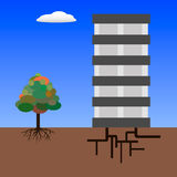 Two root`s types. Tree with root and building with underground equipment Stock Photos