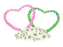 Two Rope Heart with A White Daisy Flower Royalty Free Stock Photography