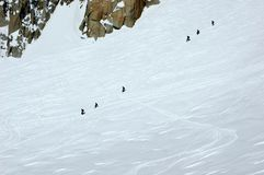 Two rope teams of climbers on the Mt Blanc Royalty Free Stock Images