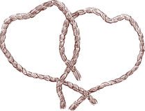 Two ropes. Vector drawing of two ropes in the form of hearts Royalty Free Stock Images
