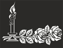 TWO ROSES AND CANDLE FOR TOMBSTONES vector illustration