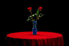Two roses on a red lace table cloth. Isolated on a black background, these two roses in a glass vase filled with blue marbles that seem to be glowing as the sit Stock Images