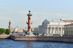 Two rostral column and exchange building. Horizontal. Royalty Free Stock Images