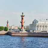 Two rostral column and exchange building Royalty Free Stock Image
