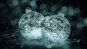 Two Rotating Christmas Grey Noir Ice Glass Baubles red balls background loop