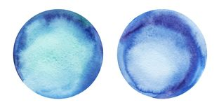 Two round abstract watercolor backgrounds blue color with a radial gradient. Hand-drawn paper illustration stock illustration