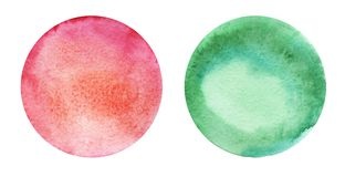 Two round abstract watercolor backgrounds of red and green colors with a radial gradient. Hand-drawn paper illustration vector illustration
