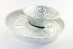 Two Round catering Trays. On a white background Royalty Free Stock Photo