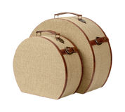 Two Round Deco Burlap Suitcases Stock Photo