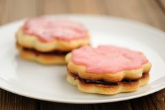 Two round double sand cakes decorated with pink icing and jam on Royalty Free Stock Photography