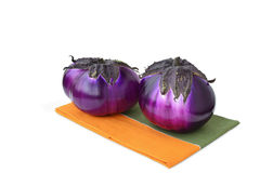 Two round eggplants Stock Photography