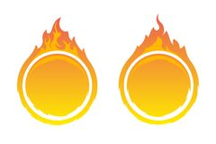 Round fire frames. Two round fire frames. Fire design element Stock Photos
