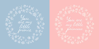 Two round frames of crowns and hearts. Royalty Free Stock Photography