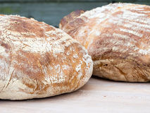 Two round french boule breads Royalty Free Stock Images