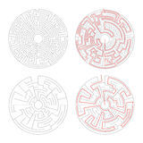 Two round mazes of medium complexity on white with solution. Two round mazes of medium complexity on white and solution with red paths Stock Photography