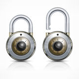 Two round padlock on white Stock Photography