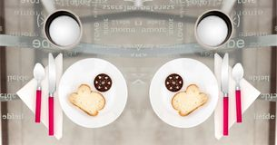 Two Round Plates With Sliced Breads On Top Royalty Free Stock Photo