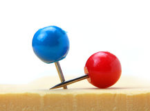 Two round push pins Stock Images