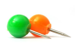 Two round push pins Royalty Free Stock Photography