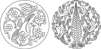 Two round stylish Indian motifs Royalty Free Stock Image