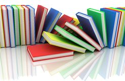 Two row books. In different colour (done in 3d Royalty Free Stock Photography