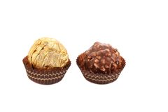 Two in row chocolate bonbons. Royalty Free Stock Photo