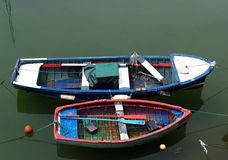 Two Rowboats. Sitting in water, shot from high viewpoint Stock Photo