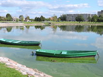 Two rowboats. In lake in Telsiai, Lithuania Stock Photos