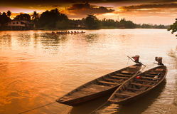 Two rowing boat boats are tied to the shore. Stock Photos