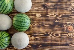 Two rows of alternating ripe melons on wood. Two rows of alternating ripe melons with watermelons and cantaloupe, also known as sweet melon or spanspek, on royalty free stock photos