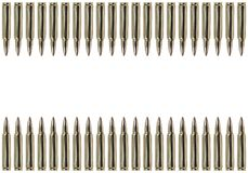 Two rows of bullets. Bullets lined up in two rows Stock Images