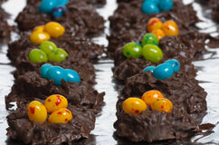 Two rows of candy bird nests Royalty Free Stock Photo