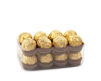 Two rows of chocolate bonbons in box. Stock Photography