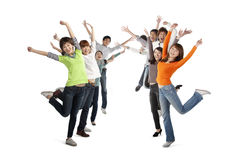 Two rows of excited young people Royalty Free Stock Images