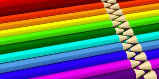 Two rows lying next to each other colored pencils Stock Photo