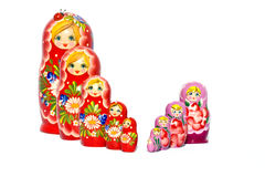 Two rows of Matryoshka dolls Royalty Free Stock Photo