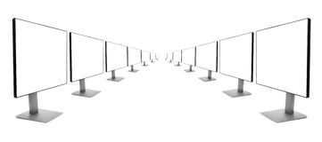 Two rows of monitors receding into the distance Royalty Free Stock Photography