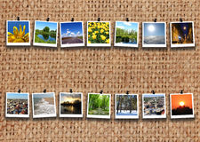 Two rows of motley images on the sacking Royalty Free Stock Image