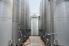 Two Rows Of Wine Tanks Stock Images